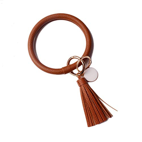 L&N Rainbery PU Leather O Key Chain Circle Tassel Wristlet Keychain for Women Girls (Chocolate Tassel - 2 Chains Key