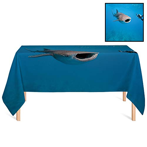(SATVSHOP Oil-Proof Tablecloth /60x84 Rectangular,Shark Giant Whale Shark and Underwater Photographer in Wildlife Diving Image Violet Blue Light Grey.for Wedding/Banquet/Restaurant.)