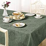 Emma Barclay Damask Rose Tablecloth, Forest Green, 50 x 70 Inch