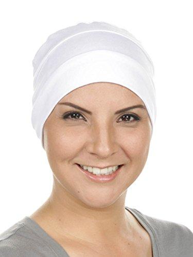 (Chemo Cap Womens Cotton Beanie Sleep Turban Hat Headwear for Cancer White)