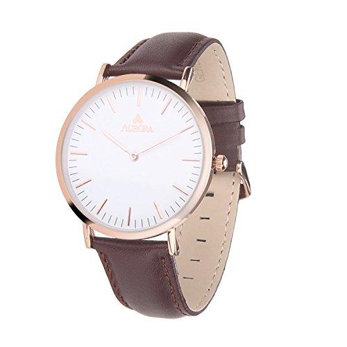 Aurora Women's Classic Steel Quartz Watch With Brown Band (Gold)