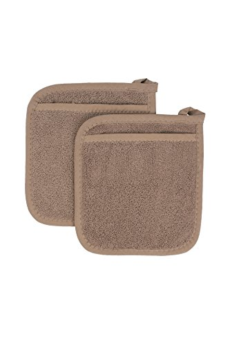 Towel Pot Holder Mitt (Ritz Royale Collection 100% Cotton Terry Cloth Pocket Mitt Set, Dual-Function Hot Pad / Pot Holder, 2-Piece, Mocha Brown)