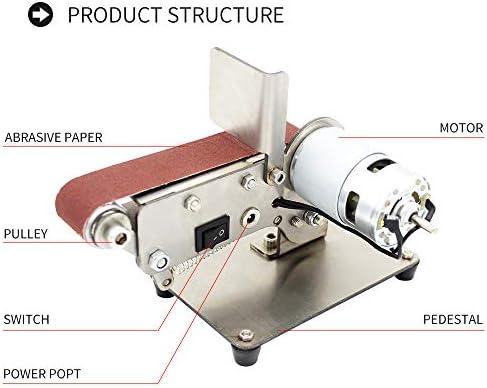 KKmoon Lijadora de banda Plegable,Lijadora de correa horizontal,Mini lijadora de rectificado de correa el/éctrica,Amoladora multifuncional,M/áquina de pulido DIY