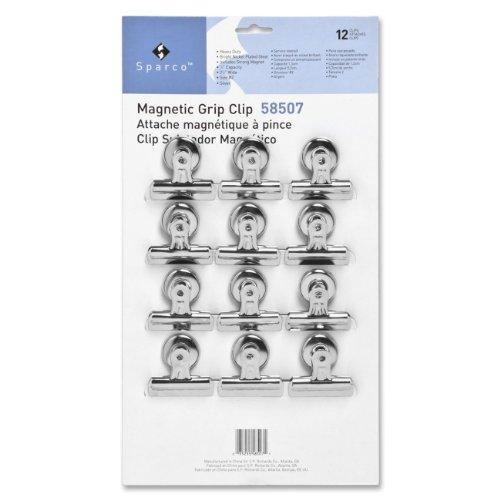Sparco Bulldog Clip, Magnetic Back, Size 2, 2-1/4-Inch Wide, 1/2-Inch Capacity, 12 per Box, SR (SPR58507)