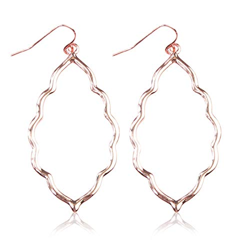 RIAH FASHION Lightweight Geometric Cut-Out Drop Earrings - Simple Metallic Open Hoop Wire Hook Dangles Pear, Teardrop, Oval Octagon (Moroccan - Rose Gold)