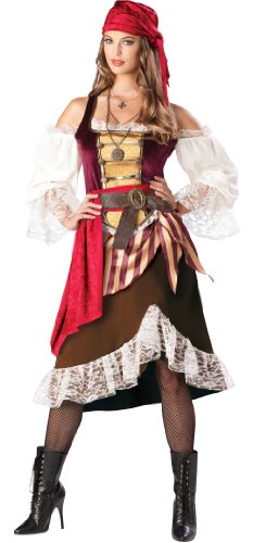 Deckhand Costume (InCharacter Costumes Women's Deckhand Darlin Costume, Brown/Burgundy, Medium)