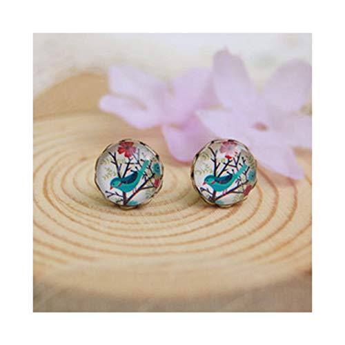MIXIA Vintage Women Charms Antique Owl Birds Art Stud Earrings Wedding Party Jewelry Fashion Hummingbird Earrings (Hummingbird)