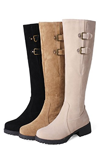 Kaloosh Women's Round Toe Block Low Heel Double Strap Buckle Comfortable Knee-High Boots Yellow Jrj0Pq