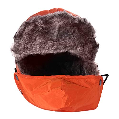(Winter Fur Men Women Hats Beanie Thick Warm Fleece Face Masks Protected Ear Ski Mask Hat Snowboard Cap Bicycle Windproof Caps,Orange,One Size)