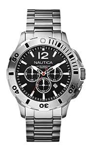 Nautica A19581G - Reloj cronógrafo de cuarzo para hombre, correa de acero inoxidable color plateado