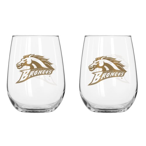 NCAA Western Michigan Broncos Curved Beverage Glass, 16-ounce, 2 (Western Glass)