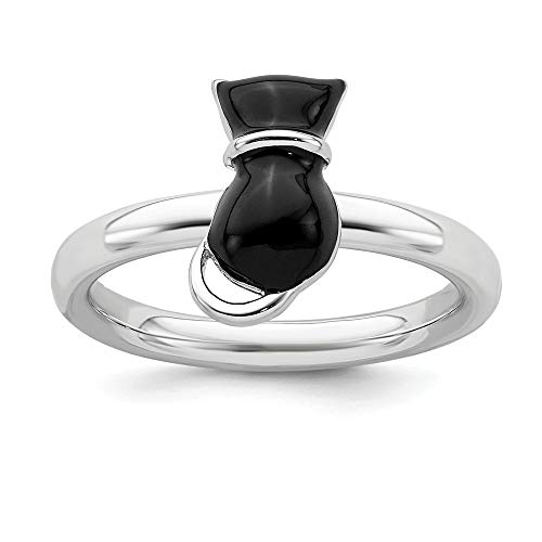 Black Enameled Cat - 925 Sterling Silver Black Enameled Cat Band Ring Size 7.00 Stackable Fine Jewelry Gifts For Women For Her
