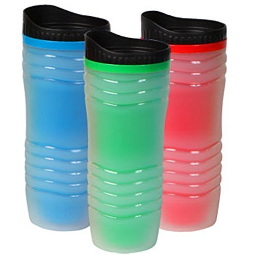 Set of 3 Double Wall Insulated Travel Mugs with Lids - Bright Colors - Green - Red - Blue - 16 Oz Each