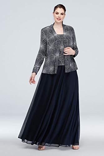 David's Bridal Metallic Burst Three-Piece Glitter Knit Plus Size Style 760324D, Navy, 24W