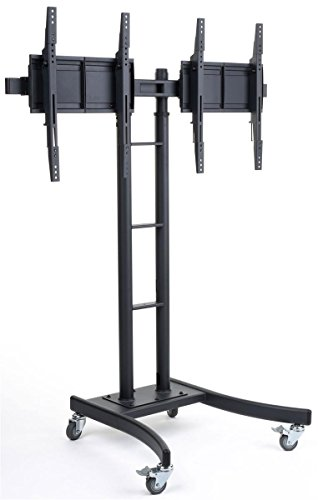 Displays2go MB895DHBK Floor Stand for TVs and Dual Monitor Mount with Side-By-Side Brackets for 24-Inch to 55-Inch LCD -