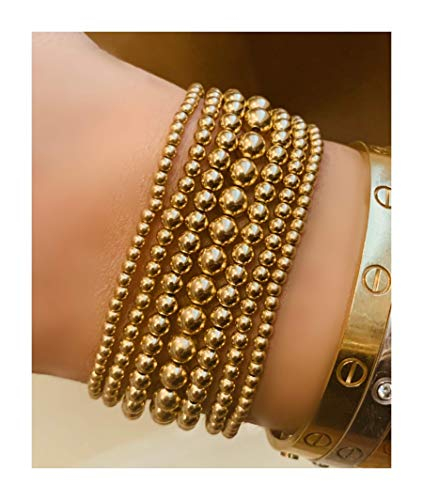 Gold Bead Bracelet, 14K Yellow Gold Filled Beaded Ball Bracelet, 2.5mm, 3mm, 4mm, 5mm Stacking Stretch Bracelet ()
