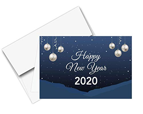 2020 Happy New Year - Blue Holiday Greetings Fold Over Cards & Envelopes, for Christmas and New Yrs Gifts and Presents | 25 Cards and 25 Envelopes per Pack | 5 x 7