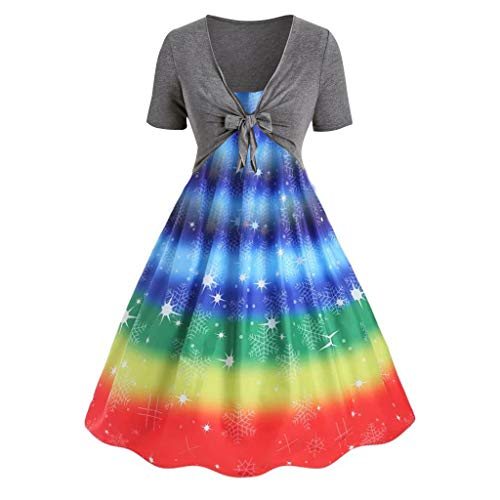 Sunhusing Ladies Summer New Simple Rainbow Colr Tie-Dyed Print Sling Camisole Dress + Cardigan Set