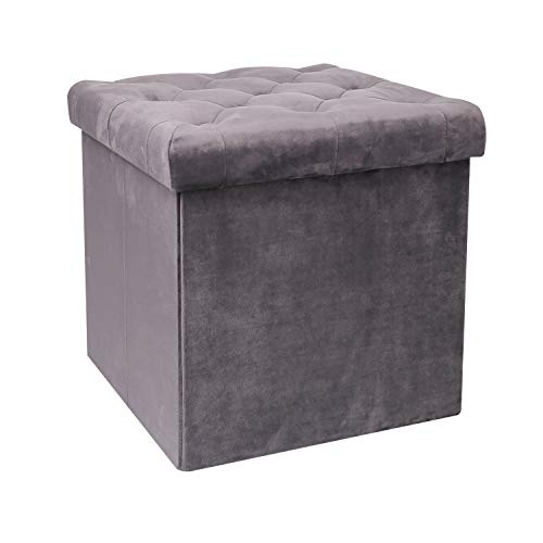 Vanity Footstool - B FSOBEIIALEO Storage Ottoman Velvet Tufted Folding Ottomans Footstool Rest Seat with Removable Lid (Grey, Medium)