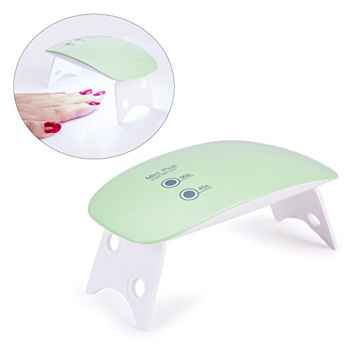 CO-Z 5W LED Nail Dryer Curing Lamp Light Portable for Gel Based Polishes Manicure Pedicure 2 Timing Setting 45s 90s (5W Small, Common - Light Green)