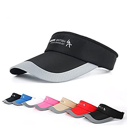 Hysenm Unisex Adjustable Sun Sports Visor Cap Golf Cap Tennis Visor Hat  Lightweight Sunscreen UV Protection Sweat Absorption for Cycling Running  Golf Tennis ... adb7413216c