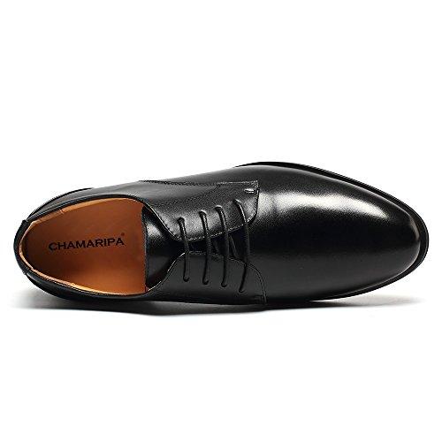 CHAMARIPA Scarpe con Rialzo da Uomo Pelle Che Aumentano l'Altezza Stringate Eleganti Nero Fino a 7,5 cm - DX70H106S nero