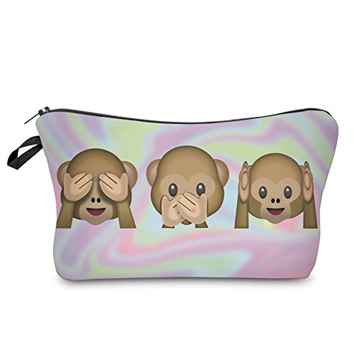 - ZAONE Women Makeup Bags 3D Printing Zipper Cosmetic Bag with Multicolor Pattern for Travel Portable Ladies Women Eyebrow Pencil Case Organiser (3 Monkeys)