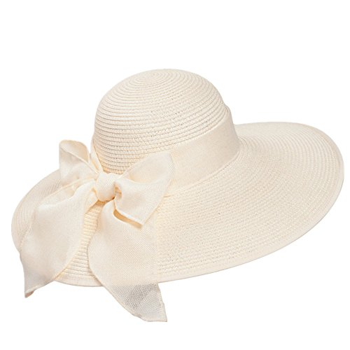 Home Prefer Women's Wide Brim Caps Summer Beach Straw Hats with Bow UPF50+ Sun Caps Cream Beige