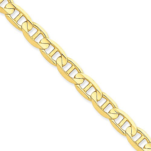 14k Yellow Gold 7mm Concave Anchor Chain 7'' Bracelet by Jewelplus