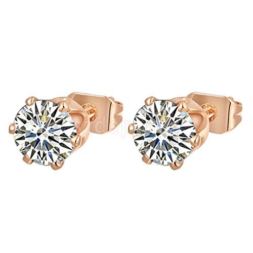 1 Pair Crystal CZ Earrings Rose Gold Stud Earring 0.7cm Round ()