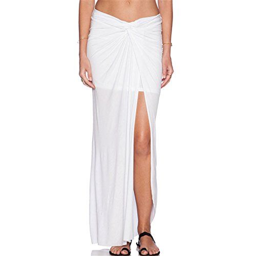 24ee789f71 Bandi das Women s White Ruched Chiffon Slit Maxi Skirt Package Hip Skirt 50% OFF