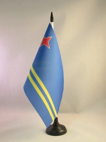 AZ FLAG Bandiera da Tavolo Aruba 21x14cm Piccola BANDIERINA ARUBANA 14 x 21 cm
