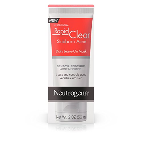 Neutrogena Rapid Clear Stubborn Acne Daily Leave-on Face Mask with Benzoyl Peroxide Acne Medicine to Clear Breakouts, 2 oz