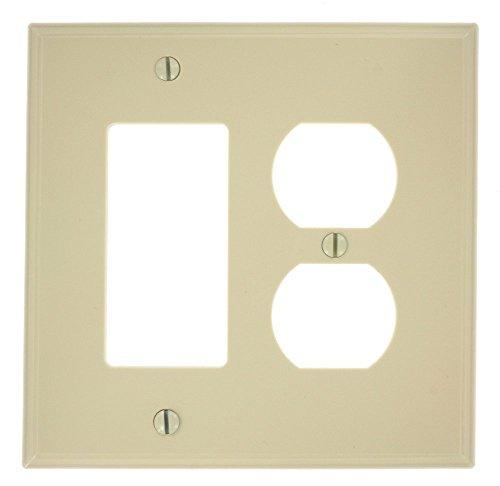 Leviton PJ826-I 2-Gang 1-Duplex 1-Decora/GFCI Combination Wallplate, Midway Size, Ivory Leviton Receptacle Nylon 1 Gang