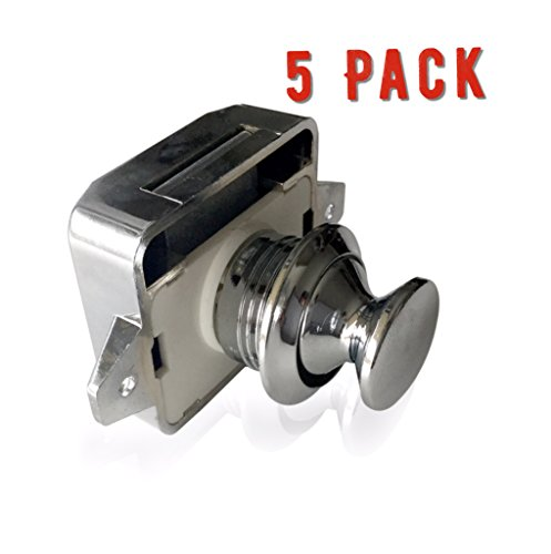 AMT Package of FIVE Cabinet Lock Keyless Push Button Cabinet Latch for Rv/Motor home, Cupboard, cabinets and doors by AMThardware