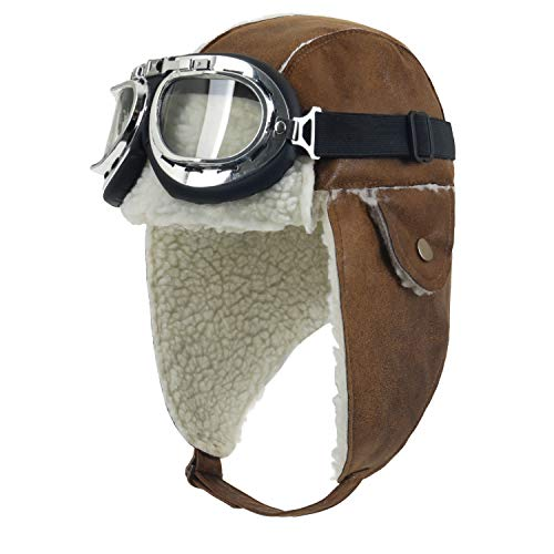 ililily Aviator Hat Winter Snowboard Fur Ear Flaps Trooper Trapper Pilot Goggles, Light Brown/White -