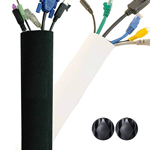 Premium 63'' Cable Management Sleeves with Free Cable Clips - Best Flexible Cords Organizer for TV Computer Office Home Theater, Adjustable Length, Reversible Black/White [new2019] (Hide Wires Computer)