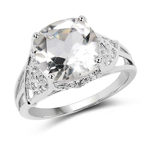 (Johareez Crystal Quartz & White Topaz Sterling Silver Cocktail Ring)