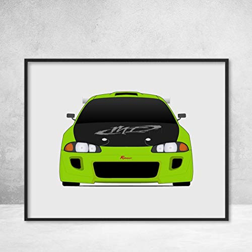 Eclipse Mitsubishi Drift - Mitsubishi Eclipse from the Fast and the Furious Brian O'Connor (Paul Walker) 2G Eclipse Fast and Furious Art Poster Print Wall Art Decor Handmade