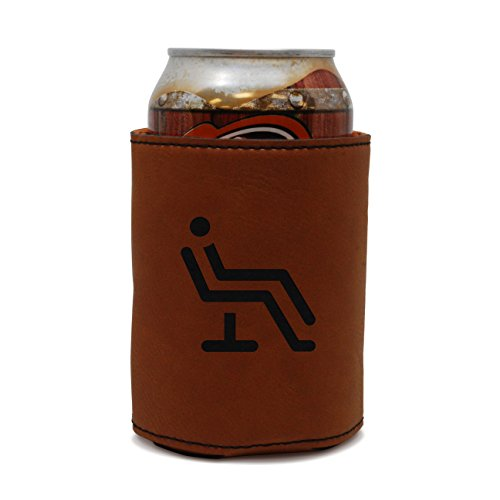 MODERN GOODS SHOP Leather Can Cooler With Patient Chair Engraving - Oi