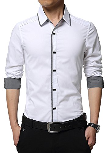 XTAPAN Men's Slim Fit Casual Long Sleeve Button Down French Cuff Dress Shirt White 8823 Asian 4XL=US L
