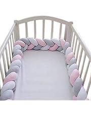 واقي سرير 2 متر للاطفال محبوك يدويا وناعم الملمس -رمادي وزهري