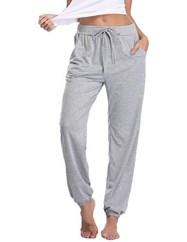 Aibrou Pajama Pants for Womens Cotton Stretch Knit Lounge Pants Bottoms Gray