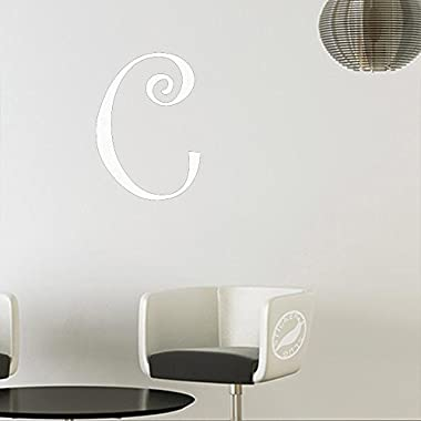 Letter C Style #43 Decal Sticker (matte white, 15 inch)
