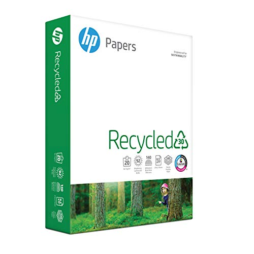 HP Printer Paper, Recycled Paper 8.5x11, 30% Recycled, 20lb, 92 Bright - 1 Ream / 500 Sheets (112100R)