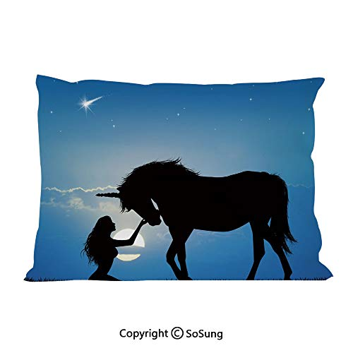 Horse Decor Bed Pillow Case/Shams Set of 2,Unicorn and Girl at Night Mythological Fantasy Creature Horse Fairytale Decorative Queen Size Without Insert (2 Pack Pillowcase 30
