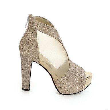Negro club Tacón Purpurina Robusto Sandalias LvYuan Materiales Vestido Mujer sliver Confort Zapatos Personalizados Innovador del Exterior Informal wXqHRZf