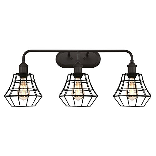 Westinghouse 6336600 Nathaniel Three-Light Indoor Wall Fixture, Oil Rubbed Bronze Finish with Matte Black Angled Bell Cage ()
