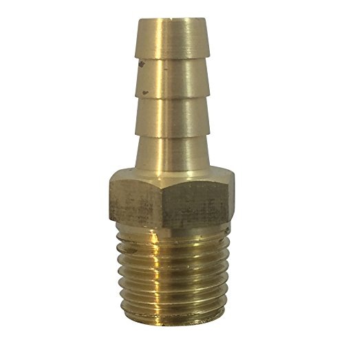 Brass Fuel Line Hose Barb [ KFPS 0504 ] Conector de Gas Adaptador de manguera Espiga x Niple Terminal (5/16 Barb x 1/4 Male)