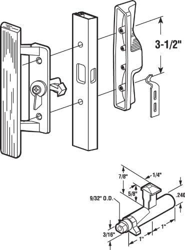 Black 1-Pack Prime-Line Products C 1260 Sliding Door Handle